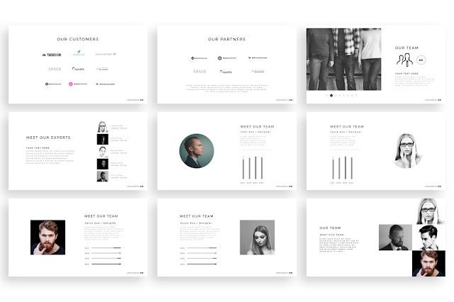 Free Minimal PowerPoint template  team slides