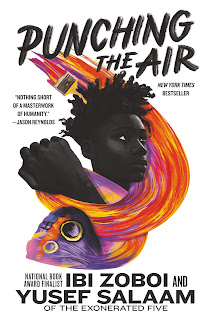 A purple and orange butterfly turns into a swirl of matching paint which loops upwards around a Black boy and his upheld fist.