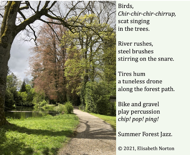 A tree, river, gravel path in the forest. Poem: Birds, Chir-chir-chir-chirrup, scat singing in the trees.  River rushes, steel brushes stirring on the snare. Tires hum a tuneless drone  along the forest path. Bike and gravel play percussion chip! pop! ping! Summer Forest Jazz.  © 2021, Elisabeth Norton