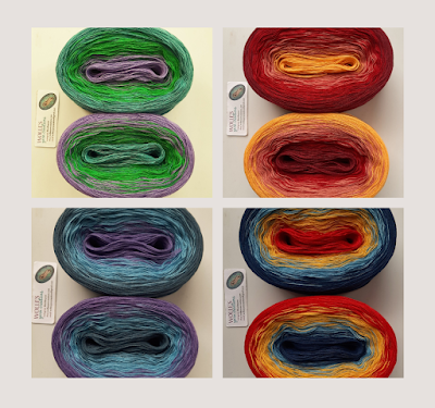 four examples of color-shifting cotton/silk yarn