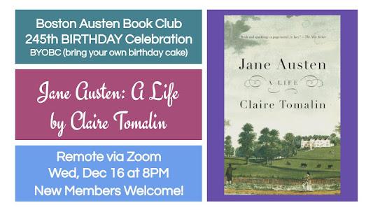 Jane Austen, A Life - 245th Birthday Bash! - BABC