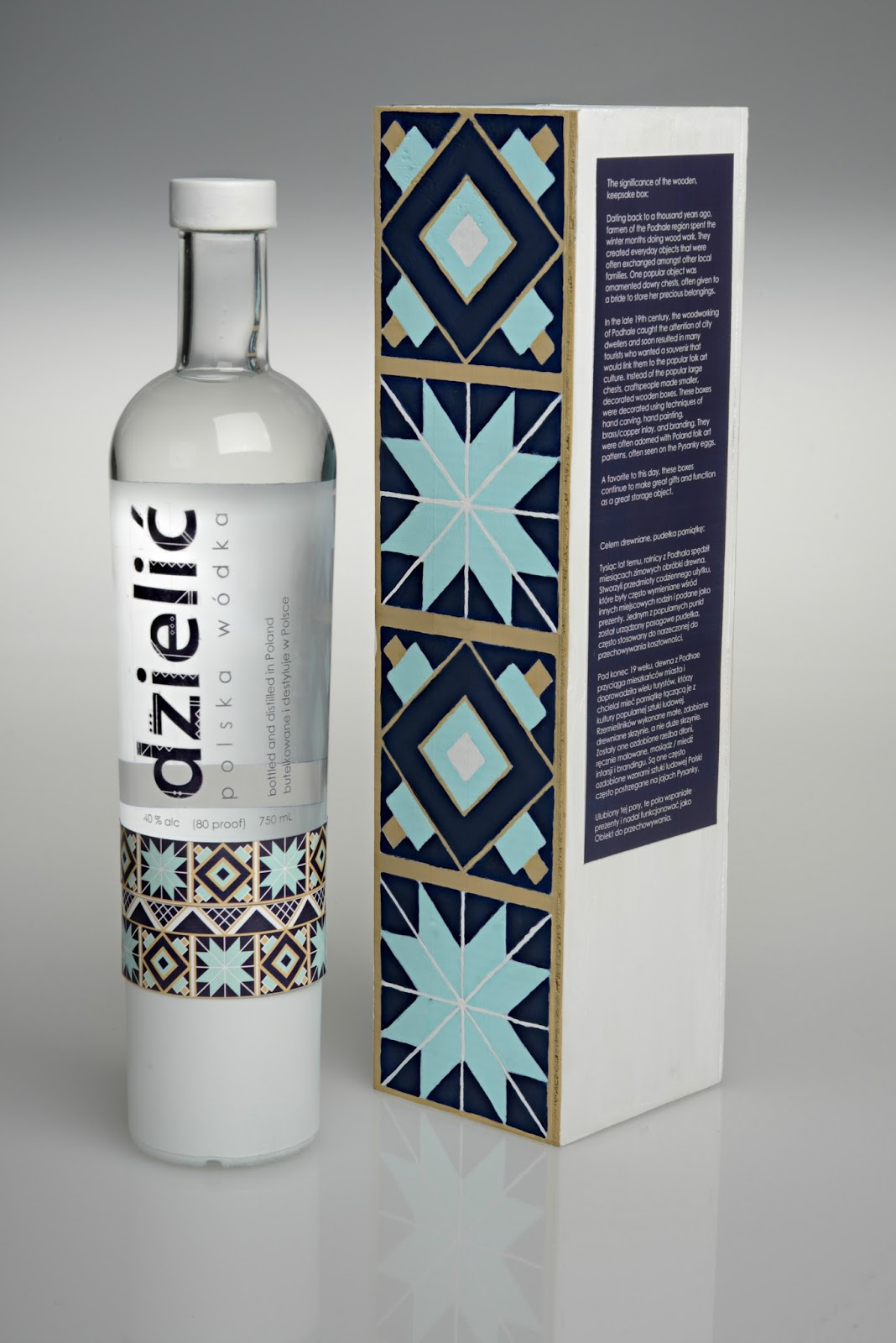 Dzielić Wódka label and packaging designed by Morgan Glisczinski