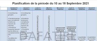 تخطيط فترة التقويم التشخيصي من 10 إلى 18 شتنبر فرنسية