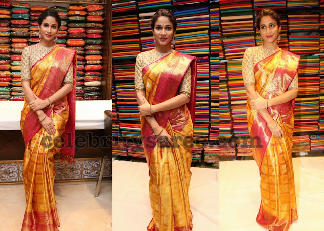 Lavanya Tripati in Mustard Stripes Silk Sari