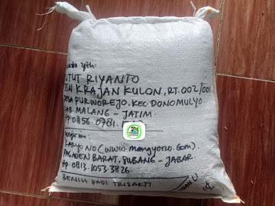 Benih padi yang dibeli   PUTUT RIYANTO Malang, Jatim  (Setelah packing karung ).