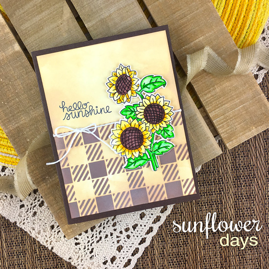 Sunflower Card by Jennifer Jackson | Sunflower Days Stamp Set and Gingham Stencil by Newton's Nook Designs #newtonsnook #handmade