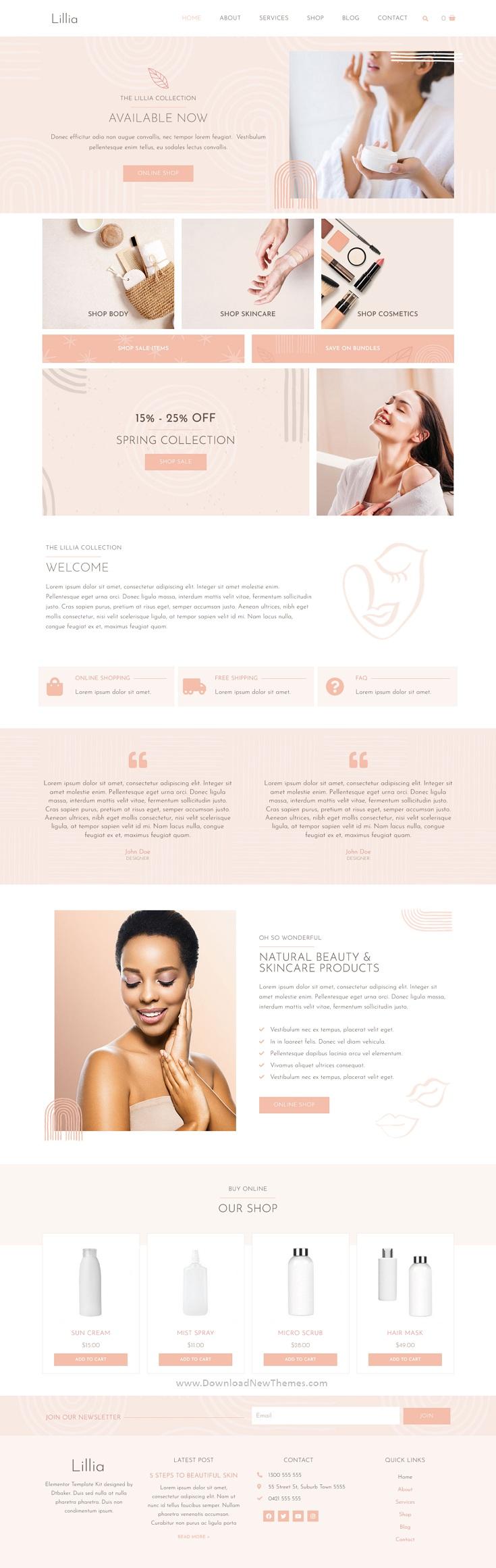 Beauty & Skincare Elementor Template Kit