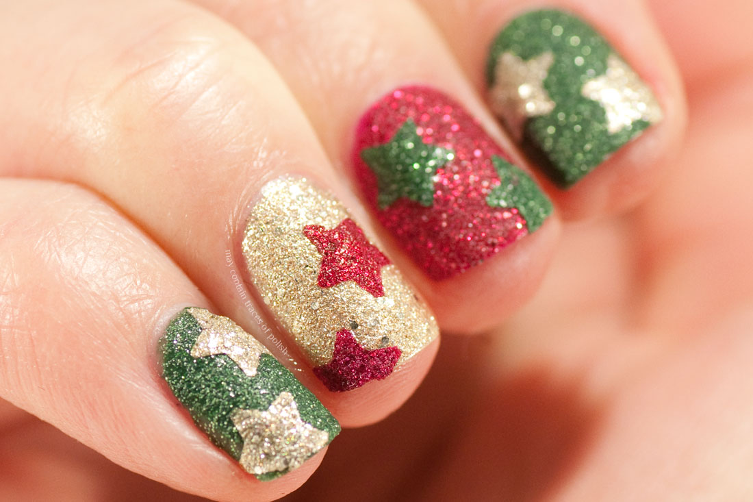 Red, green and gold textured nail art with stars - Christmas manicure
