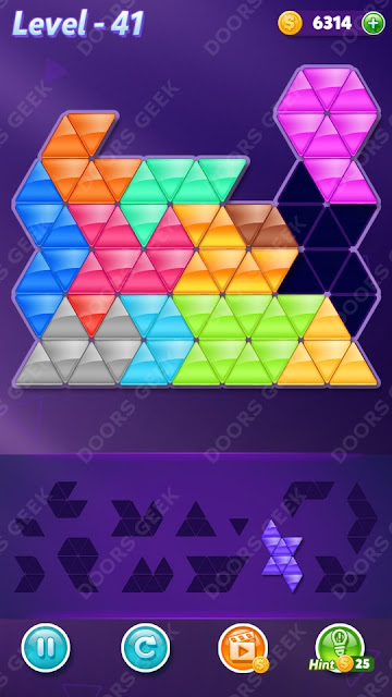 Block! Triangle Puzzle Champion Level 41 Solution, Cheats, Walkthrough for Android, iPhone, iPad and iPod
