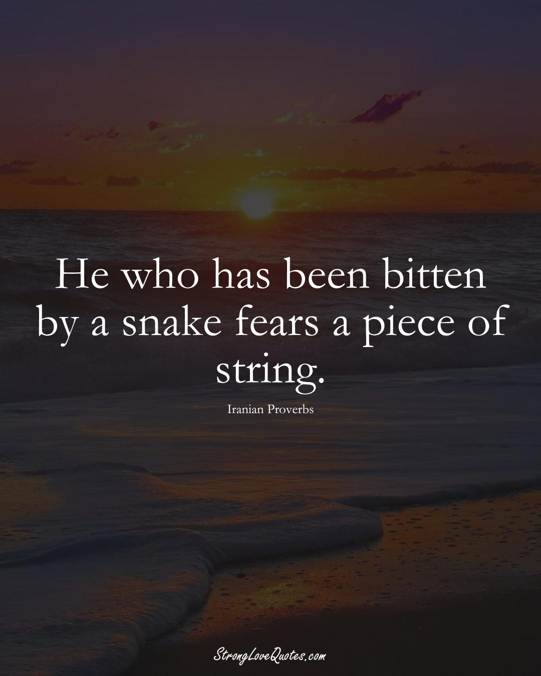He who has been bitten by a snake fears a piece of string. (Iranian Sayings);  #MiddleEasternSayings
