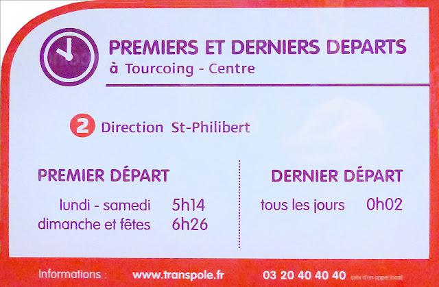 Métro Tourcoing Centre - Premiers et derniers départs