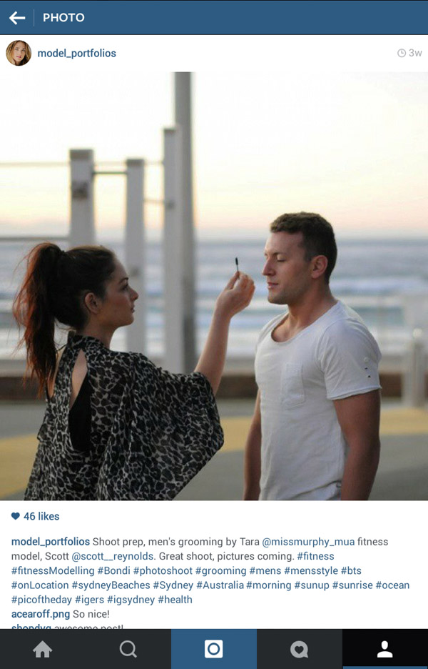 Grooming, Instagram screenshots, dawn shoot at Bondi Beach men's model portfolio by Kent Johnson.