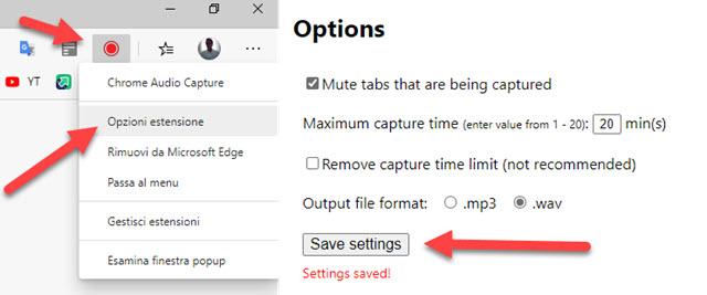 opzioni chrome audio capture edge