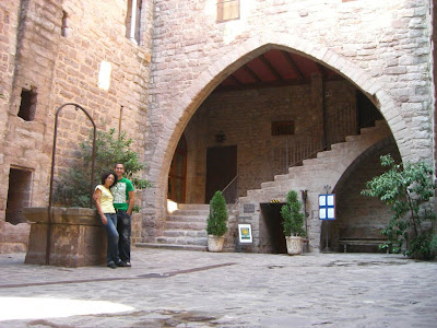 Arcade inside the Castle of Cardona in Catalonia