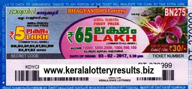 Kerala lottery result live of Bhagyanidhi (BN-270) on 30.12.2016