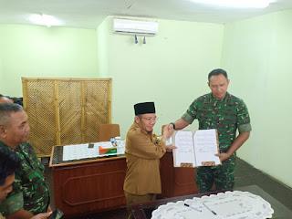 Danrem 162/WB dan Bupati Lombok Utara Tandatangani Naskah Hibah Tanah Pembangunan Kodim