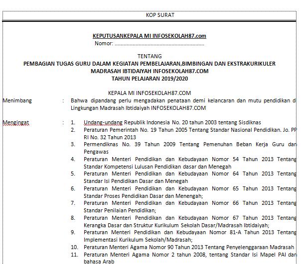 Download Contoh SK Pembagian Tugas MI Lengkap dengan Lampirannya (MS. Word)