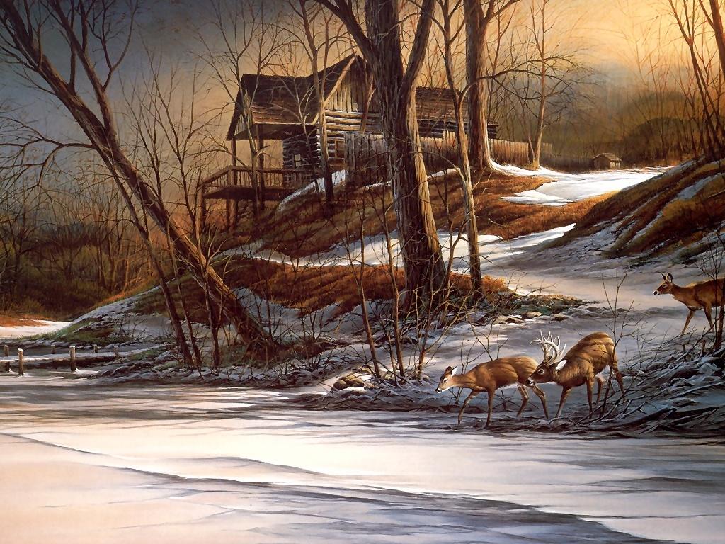Fall Cabin The Woods Wallpaper Terry Redlin Art Desktop Wallpapers