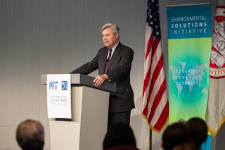 Senator Sheldon Whitehouse was the guest speaker at an MIT Environmental Solutions Initiative People and the Planet lecture. (Photo Credit: Casey Atkins) Click to Enlarge.