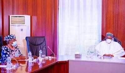 Welcome To Ladun Liadi's Blog: Buhari, Okonjo-Iweala meet in Aso Rock
