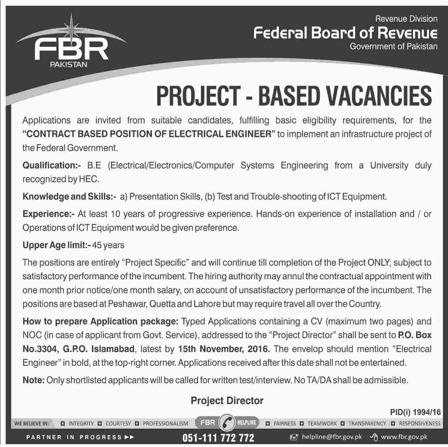 Govt Jobs in Federal Board of Revenue Islamabad