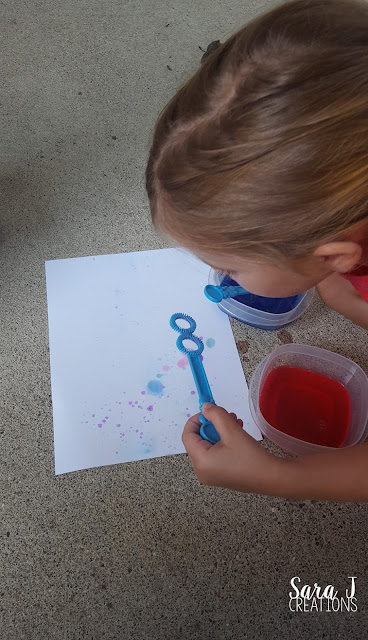 Bubble painting with kids is easy set up, easy clean up with super cute colorful results.  Combine the toddler love of painting and blowing bubbles into one activity.