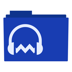 Preview of Audacity, blue, software, logo, folder icon