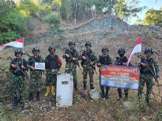 Patop Satgas Pamtas Yonif 742/SWY Pimpin Patroli Patok Sepanjang Perbatasan RI-RDTL Sektor Timur.