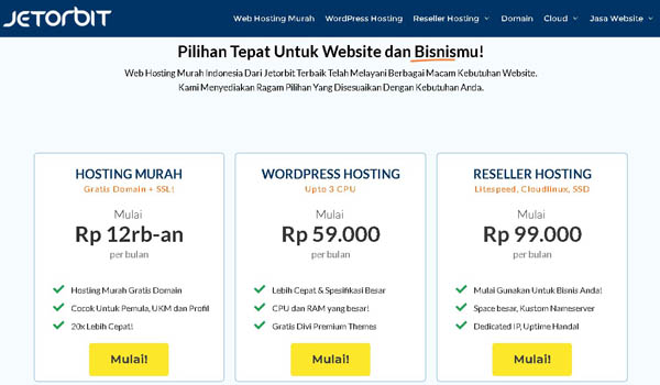 paket hosting jetorbit
