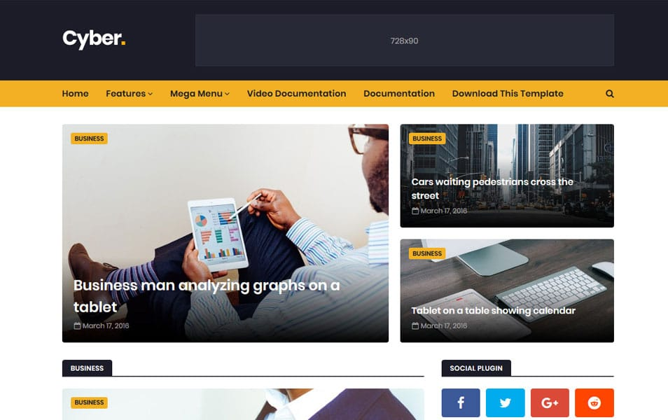 Cyber Responsive Blogger Template