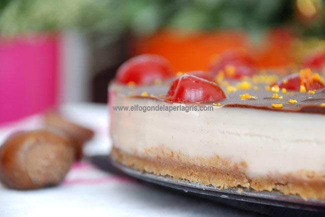 Detalle tarta de castañas y chocolate