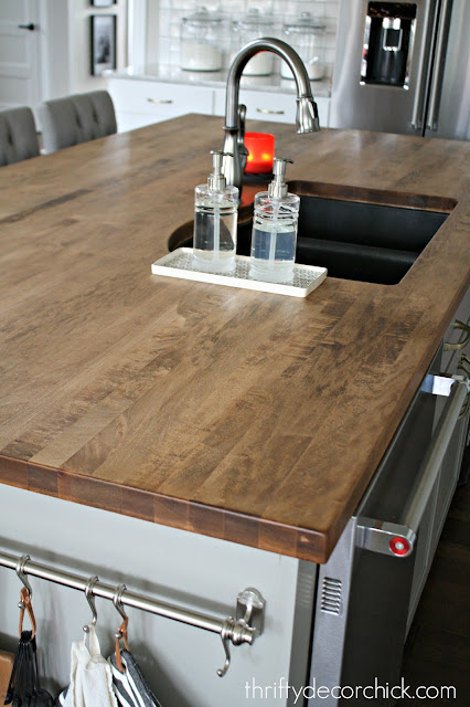 Wood island countertop with sink
