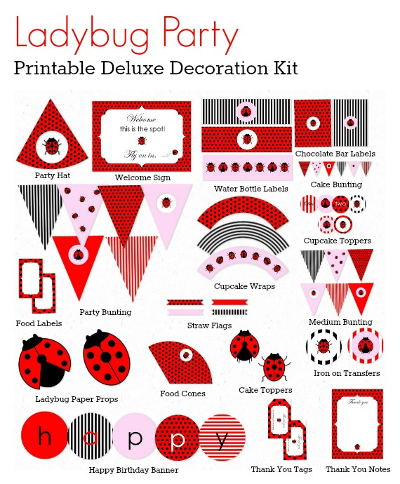Ladybug Party Printable Deluxe Decoration Kit - Love That Party. Available now at - http://lovethatparty.bigcartel.com/product/ladybug-party-printable-deluxe-decoration-kit