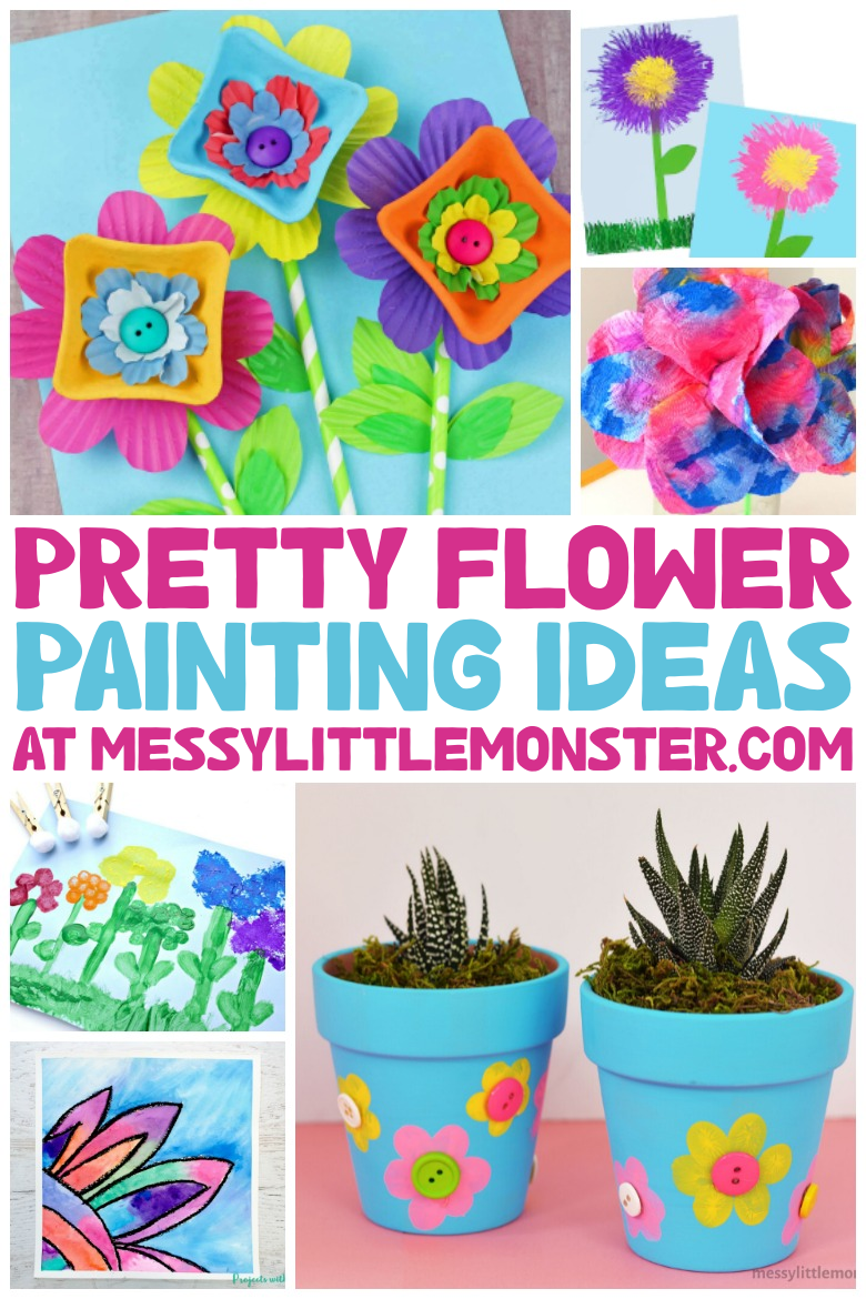 pretty flower painting ideas for kids