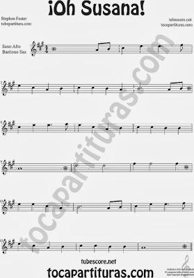 ¡Oh Susana! Partitura de Saxo Alto y Barítono Sax Sheet Music for Alto Saxophone and Baritone Sax