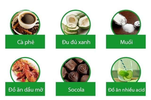 Hạn chế ăn các chất béo, tránh ăn sôcôla, tỏi, mỡ, rượu, bia, gia vị cay, cà ri.