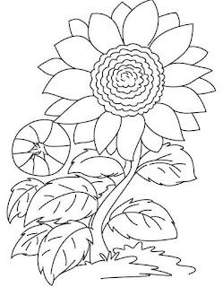 Gambar bunga kartun untuk mewarnai