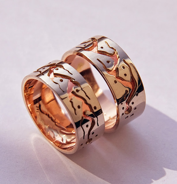 Wedding rings Name Babaamaadiziwin designed by Zhaawano Giizhik