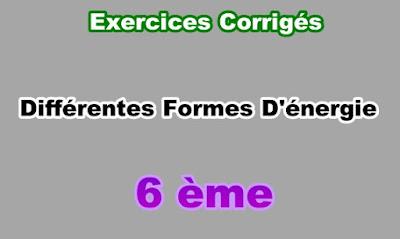 Exercices Corrigés de Différentes Formes d'Energie 6eme en PDF