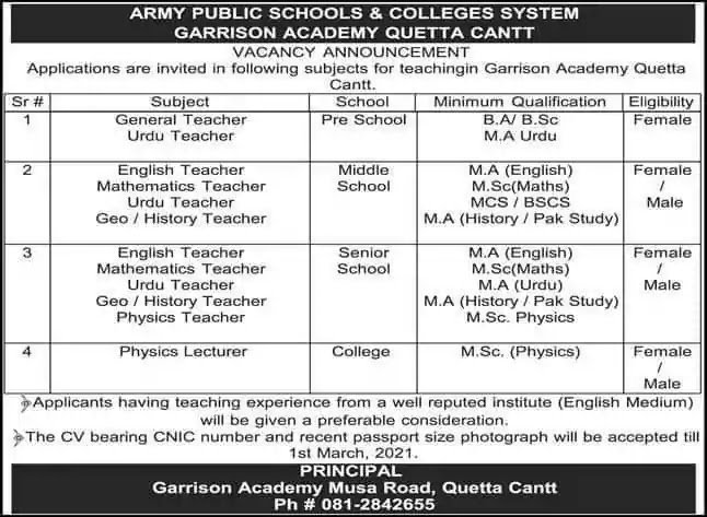 Latest Jobs in Pakistan Army Public School and College Quetta Jobs 2021