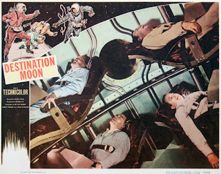 Lobby card - Destination Moon (1950) illustrating the crew experiencing G force
