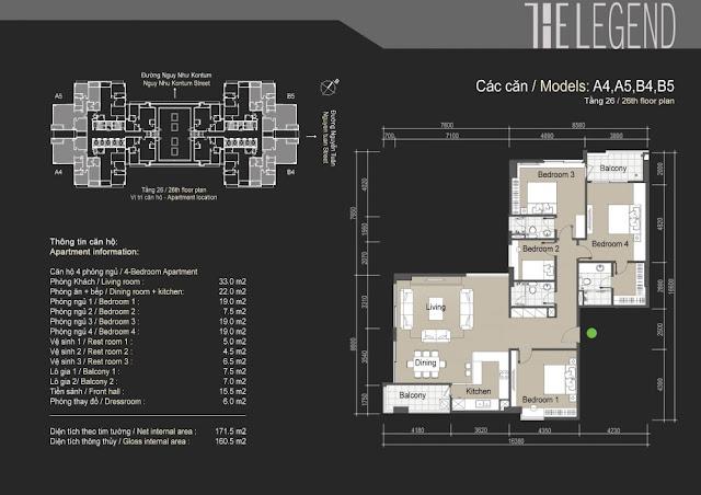 Mặt bằng căn hộ A4 A5 B4 B5 - 160m - The Legend