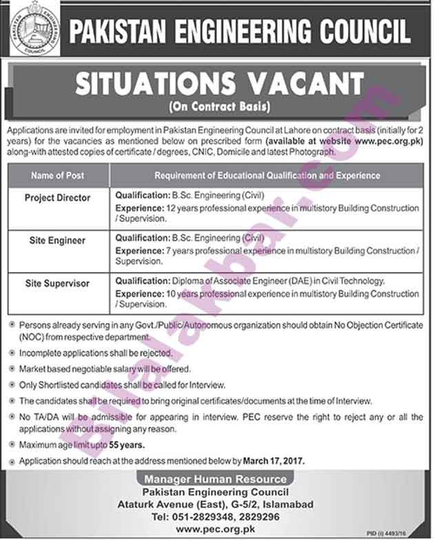 Civil Engineering Jobs In Pakistan Engineering Council Last Date 17 March 2017