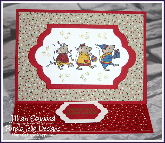 Candy Cane Lane DSP, Merry Mice Stamp set, Lots of Labels framelits, International Blog Hop