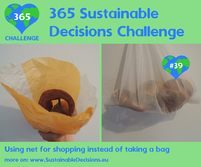 Using net for shopping instead of taking a bag reducing plastic waste reducing waste
