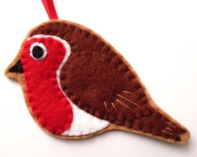felt robin Christmas ornament tutorial