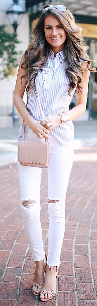 neutral shades outfit: stripes + rips