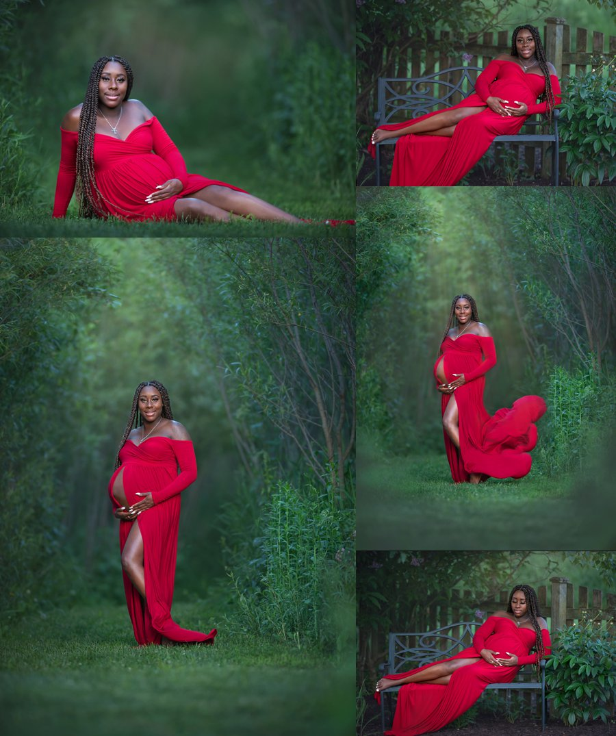 Beautiful Black African American Maternity Pregnancy session outdoors