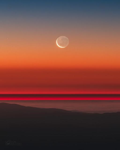 Trăng già tựa lưng Trăng non. Hình ảnh: Yuri Beletsky (Carnegie Las Campanas Observatory, TWAN).