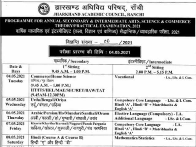 झारखंड: मैट्रिक और इंटर परीक्षा की डेट शीट जारी, दोनों बोर्ड की परीक्षा 4 मई से 21 मई तक होगी आयोजित